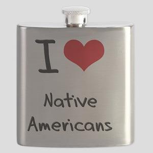 I Love Native Americans Flask