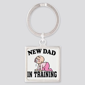 New Dad In Training (Girl) Square Keychain