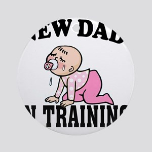 New Dad In Training (Girl) Round Ornament