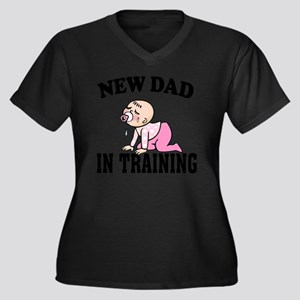New Dad In T Women's Plus Size Dark V-Neck T-Shirt