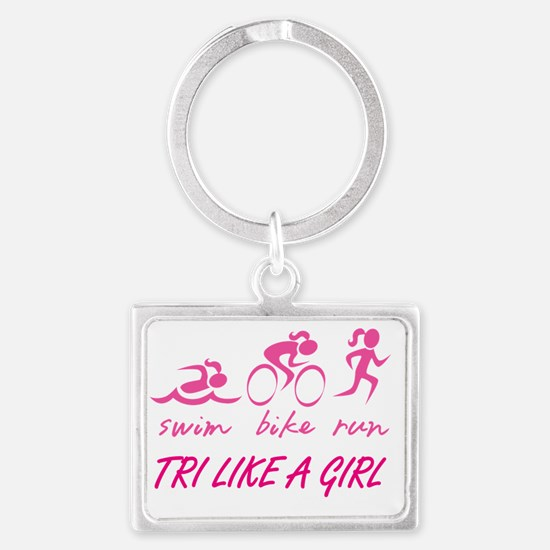 TRI LIKE A GIRL Landscape Keychain