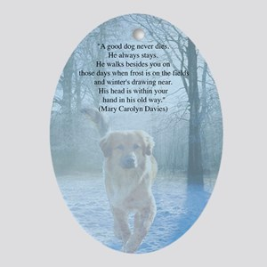 pet loss sympathy card Oval Ornament