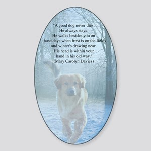 pet loss sympathy card Sticker (Oval)