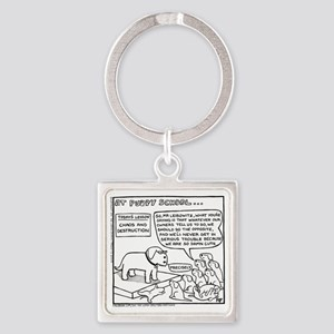 At Puppy School Square Keychain