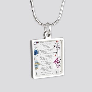 Police Officer Wife Silver Square Necklace