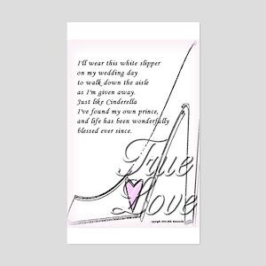White Slippers Bridal Rectangle Sticker
