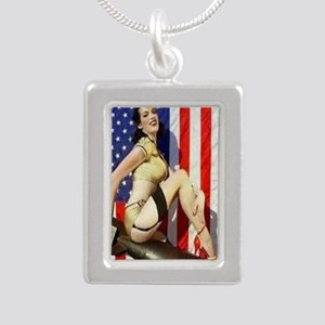 2 Military Pin Ups Silver Portrait Necklace