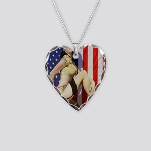 2 Military Pin Ups Necklace Heart Charm