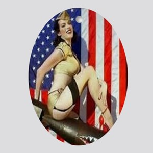 2 Military Pin Ups Oval Ornament