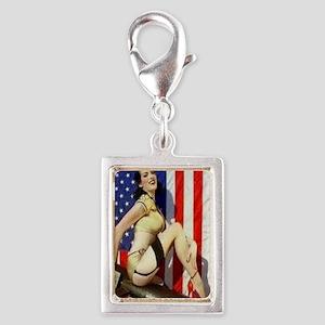 2 Military Pin Ups Silver Portrait Charm