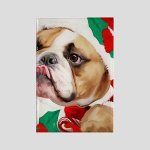 bulldog christmas card Rectangle Magnet