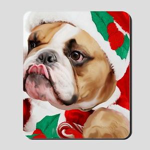 bulldog christmas card Mousepad