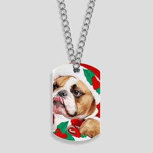 bulldog christmas card Dog Tags