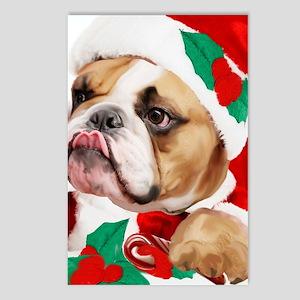bulldog christmas card Postcards (Package of 8)