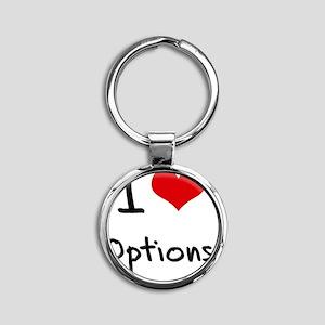 I Love Options Round Keychain