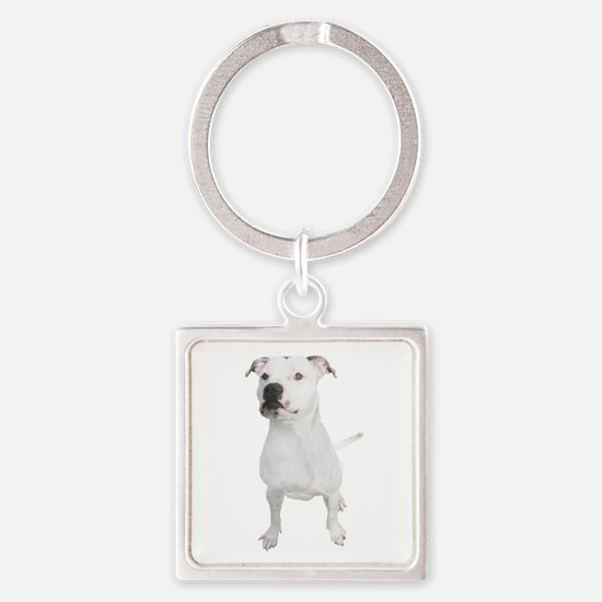 Cute Pit bull mom Square Keychain