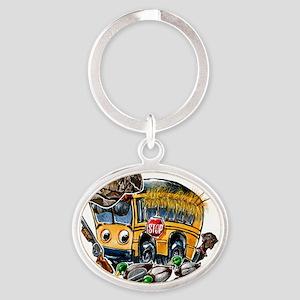 DUCK HUNTING schoolbus Oval Keychain