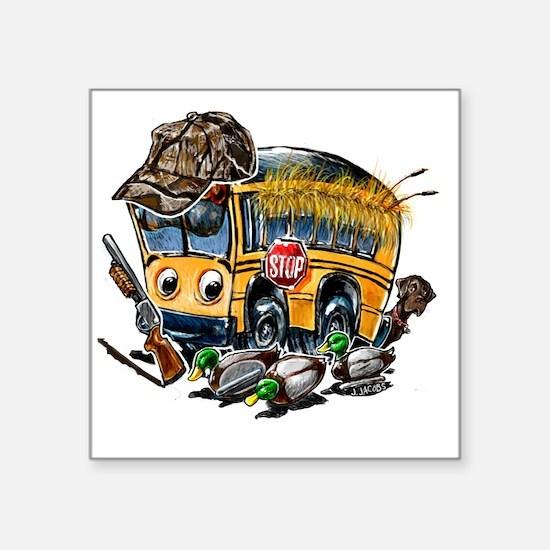 "DUCK HUNTING schoolbus Square Sticker 3"" x 3"""