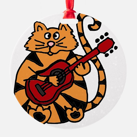 Tiger Cat Playing Red Guitar Ornament