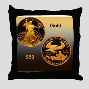 American Eagle Gold Proof 50 Dollar C Throw Pillow