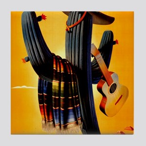 Vintage Mexico Guitar Travel Tile Coaster