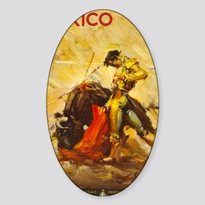 Vintage Mexico Bullfight Travel Sticker (Oval)