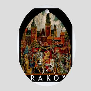 Vintage Krakow Poland Travel Oval Ornament
