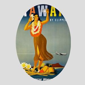 Vintage Hawaiian Travel Oval Ornament