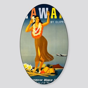 Vintage Hawaiian Travel Sticker (Oval)