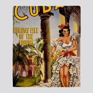 Vintage Cuba Tropics Travel Throw Blanket