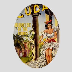 Vintage Cuba Tropics Travel Oval Ornament