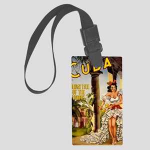 Vintage Cuba Tropics Travel Large Luggage Tag