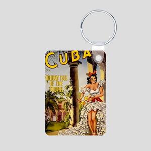 Vintage Cuba Tropics Trave Aluminum Photo Keychain