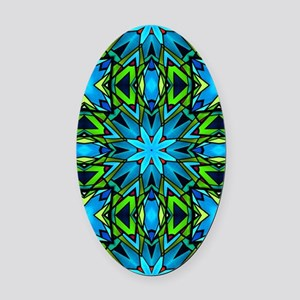 Blue and Green Stained Glass Oval Car Magnet