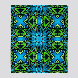 Blue and Green Stained Glass Throw Blanket