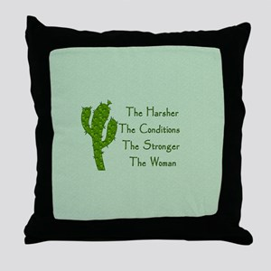 Harsh Conditions Strong Woman Throw Pillow
