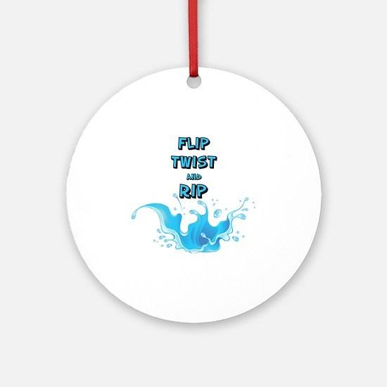 Flip, Twist and Rip Round Ornament