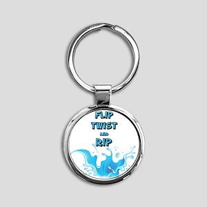 Flip, Twist and Rip Round Keychain