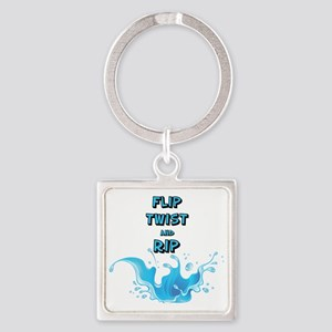 Flip, Twist and Rip Square Keychain