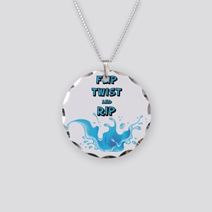 Flip, Twist and Rip Necklace Circle Charm