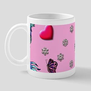 Hearts and Peacocks, Pink, Cyan Mug