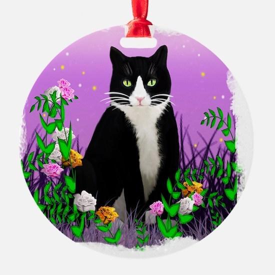 Tuxedo Cat on Lavender Ornament