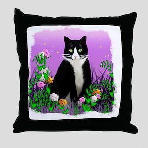 Tuxedo Cat on Lavender Throw Pillow