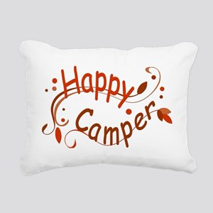 Happy Camper Red Rectangular Canvas Pillow