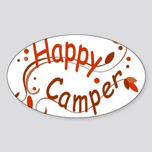 Happy Camper Red Sticker (Oval)