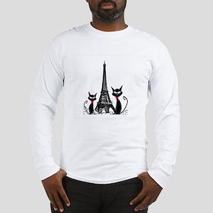 Cats Eiffel Tower Pillow Long Sleeve T-Shirt