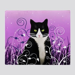 Tuxedo Cat on Lavender Throw Blanket