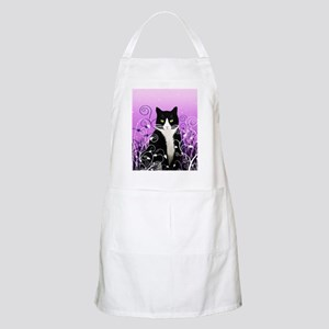 Tuxedo Cat on Lavender Apron