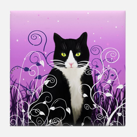 Tuxedo Cat on Lavender Tile Coaster