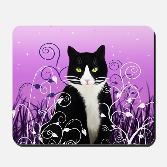 Tuxedo Cat on Lavender Mousepad